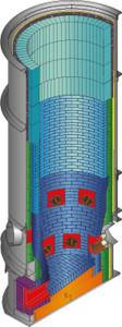 Les fours à cuve fonctionnent à des températures autour de 1200 °C et peuvent être encore plus chauds autour des brûleurs et au niveau du trou de coulée.